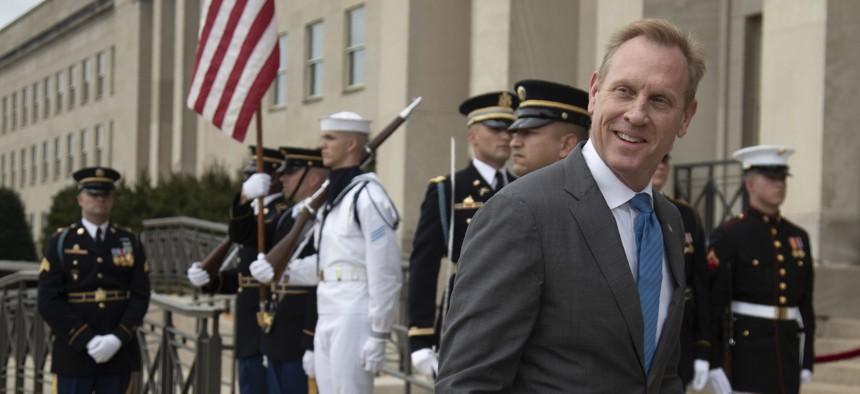 Acting Defense Secretary Patrick Shanahan awaits the arrival of Greek Defense Minister Evangelos Apostolakis at the Pentagon, Friday, June 7, 2019.