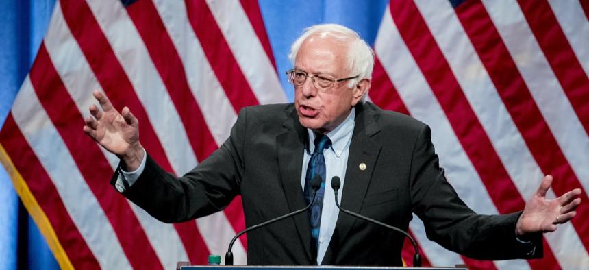 Democratic presidential candidate Sen. Bernie Sanders, I-Vt., speaks at George Washington University in Washington, Wednesday, June 12, 2019.