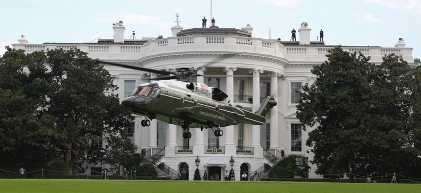 Marine Helicopter Squadron One (HMX-1) runs test flights of the new VH-92A over the South Lawn of the White House on Sept. 22, 2018.