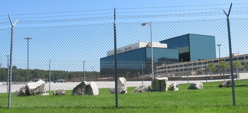 Aug. 20, 2017: Barbed wire and chain link fencing surrounds the complex that houses the National Security Agency outside Washington, D.C.