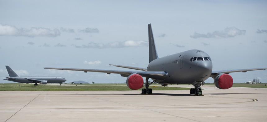A fourth KC-46 Pegasus lands on the flight line, May 18, 2019, at Altus Air Force Base, Okla.