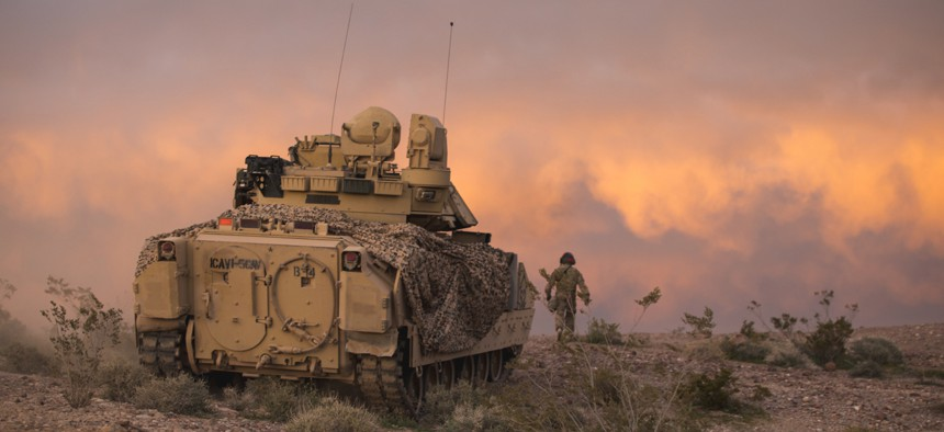 An M2 Bradley Fighting Vehicle during an exercise at the National Training Center, Fort Irwin, Calif.