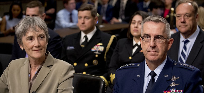 Former Air Force Secretary Heather Wilson and Gen. John Hyten appear before a Senate Armed Services Committee in Washington on July 30, 2019, for Hyten's confirmation hearing to be Vice Chairman of the Joint Chiefs of Staff.