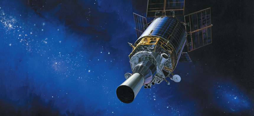 Artist's rendering of a Defense Support Program (DSP) satellite in orbit.