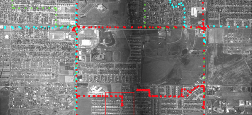 Aerial surveillance equipment is capable of tracking the paths of individual cars along residential streets.