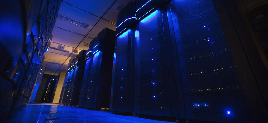 This Wednesday, May 20, 2015 photo shows server banks inside a data center at AEP headquarters in Columbus, Ohio.