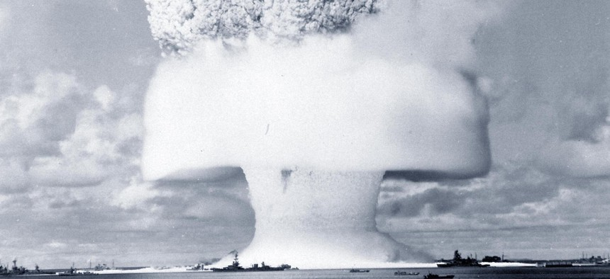"""Operation Crossroads, """"Baker Day"""" Underwater Atomic Bomb Test, Bikini Atoll, July 25, 1946. Frame 2 of a series of ground level views, taken about one-and-a-half seconds after detonation."""