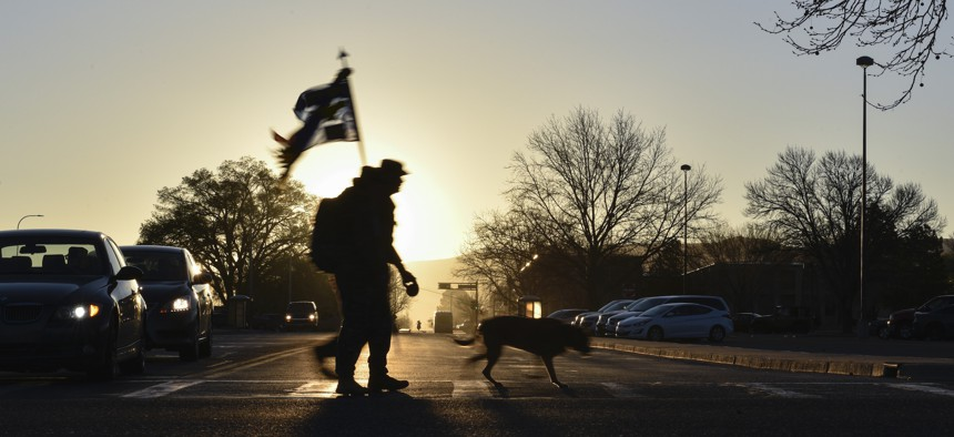 Participants of the 2019 377th Security Forces Squadron Suicide Awareness Ruck March ruck at Kirtland Air Force Base, N.M., March 29, 2019.
