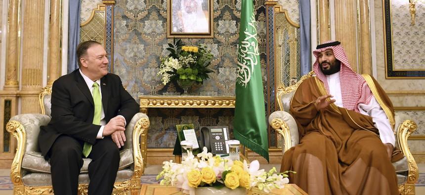 U.S. Secretary of State Mike Pompeo, left, meets with Saudi Arabia's Crown Prince Mohammed bin Salman in Jeddah, Saudi Arabia, on Wednesday, Sept 18, 2019.