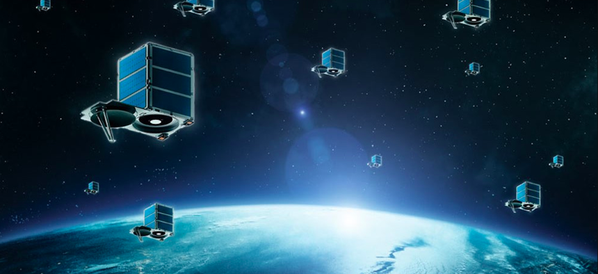 An artist's rendering of a small satellite constellation