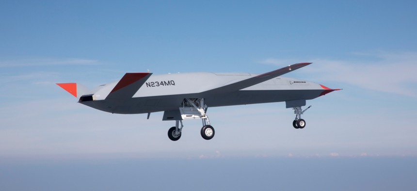 A prototype of an MQ-25 Stingray refueling drone flies for the first time on Sept. 19.