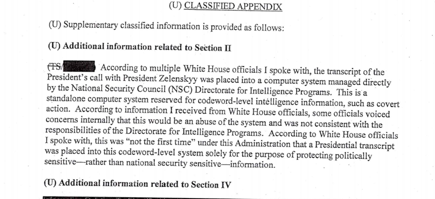 Screenshot of the August 12, 2019, whistleblower memo about alleged attempts by President Trump to solicit information from foreign powers to sway US elections.