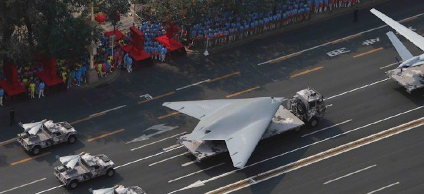 """The Chinese GJ-11 """"Sharp Sword"""" stealth drone, displayed on October 1 at the China  National Day military parade."""