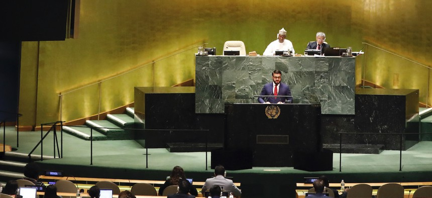 Afghanistan's National Security Adviser Hamdullah Mohib addresses the 74th session of the United Nations General Assembly, Monday, Sept. 30, 2019.