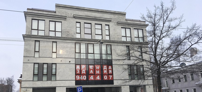 """A view of the four-story building known as the """"troll factory"""" in St. Petersburg, Russia, Saturday, Feb. 17, 2018."""