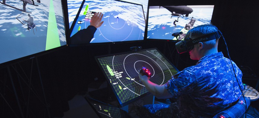 A 2015 photo at the Office of Naval Research (ONR)-sponsored Battlespace Exploitation of Mixed Reality (BEMR) Lab located at Space and Naval Warfare Systems Center Pacific.