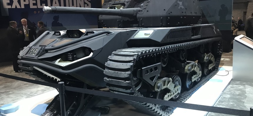 Ripsaw, a 10-ton, 20-foot electrically-powered treaded minitank, on display at AUSA