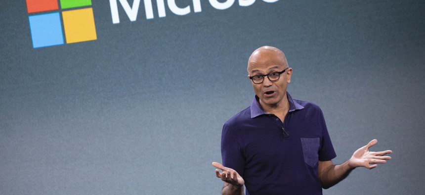 Microsoft CEO Satya Nadella talks during a company event, Wednesday, Oct. 2, 2019, in New York.