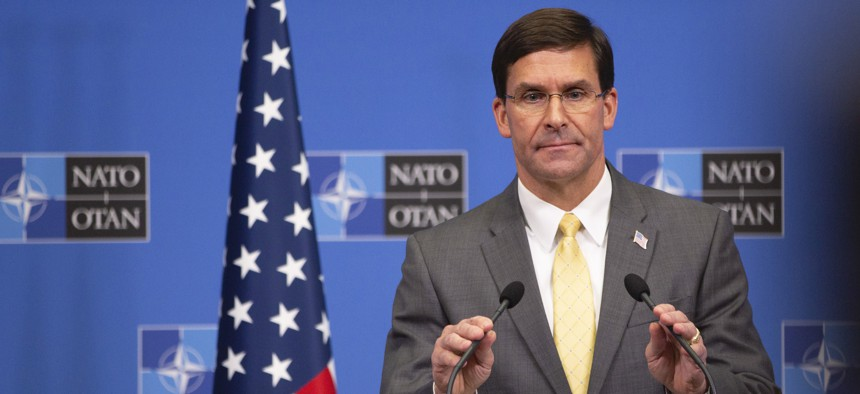 U.S. Secretary of Defense Mark Esper speaks during a media conference after a meeting of NATO defense ministers at NATO headquarters in Brussels, Friday, Oct. 25, 2019.