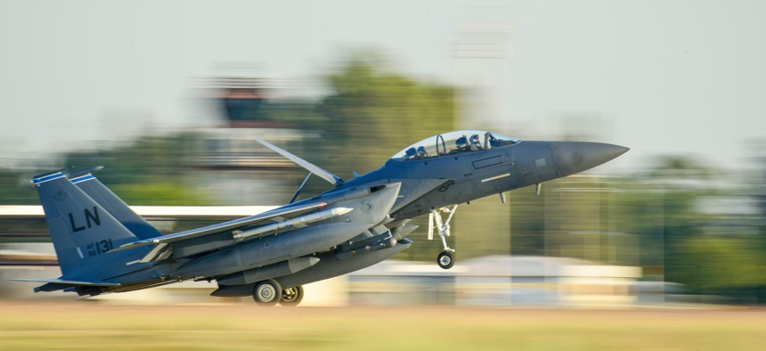 An F-15E Strike Eagle from the 48th Fighter Wing at Royal Air Force Lakenheath, England, lands at Incirlik Air Base, Turkey, Nov. 12, 2015.