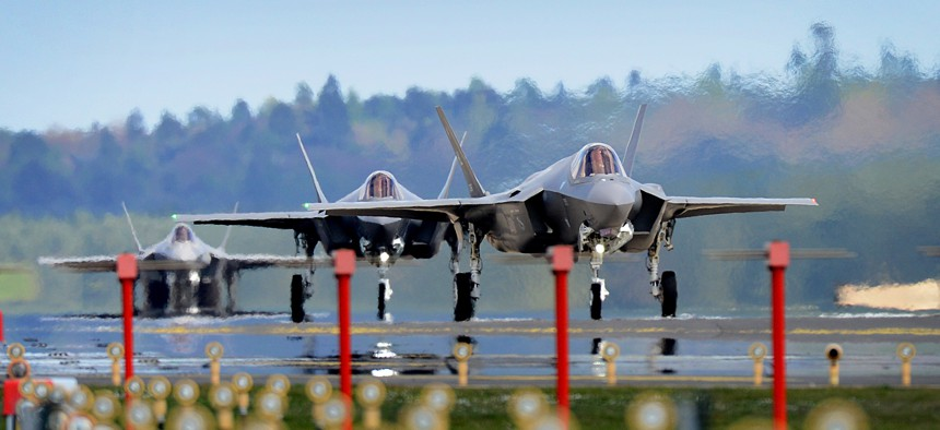 F-35A Lightning II aircraft assigned to the 34th Fighter Squadron at Hill Air Force Base, Utah, land at RAF Lakenheath, England, April 15, 2017.