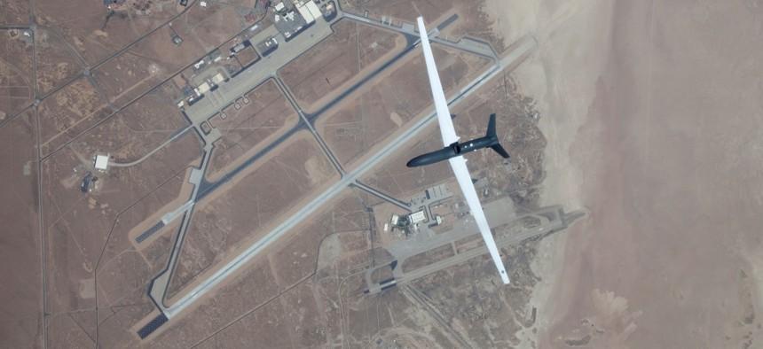 A Global Hawk flies over Edwards Air Force Base.