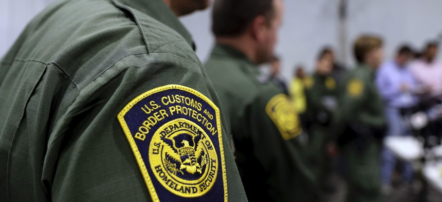 Border Patrol agents hold a news conference prior to a media tour of a new U.S. Customs and Border Protection temporary facility near the Donna International Bridge, Thursday, May 2, 2019, in Donna, Texas.