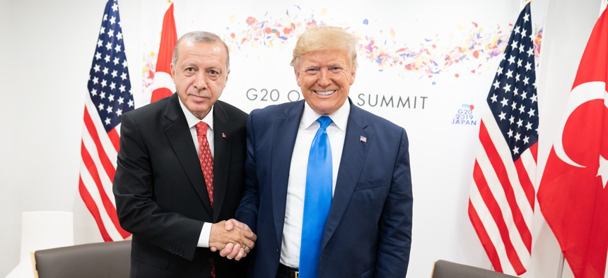 President Donald J. Trump participates in a bilateral meeting with President of the Republic of Turkey Recep Tayyip Erdogan at the G20 Japan Summit Saturday, June 29, 2019, in Osaka, Japan.