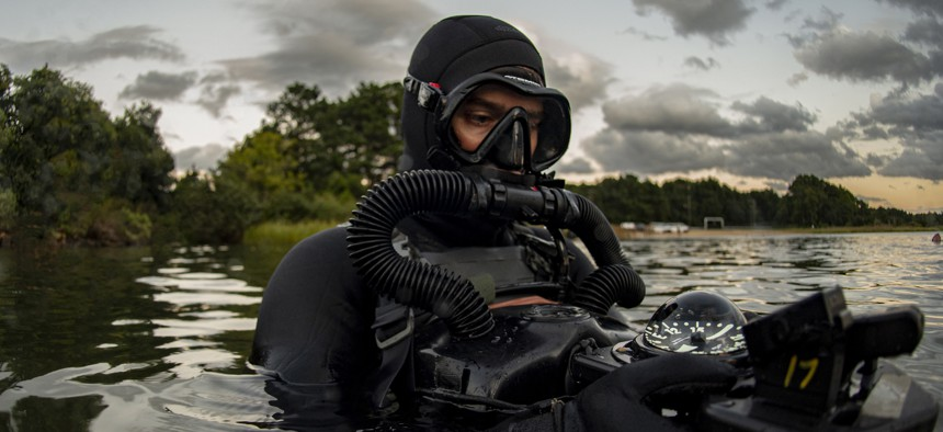 (September 18, 2019) A member assigned to Naval Special Warfare Group 2 conducts military dive operations off the East Coast of the United States.