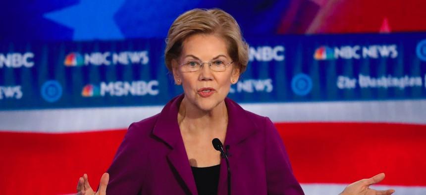 Democratic presidential candidate Sen. Elizabeth Warren, D-Mass., speaks during a Democratic presidential primary debate, Wednesday, Nov. 20, 2019, in Atlanta.