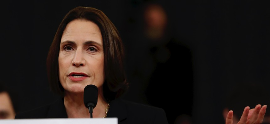 Former White House national security aide Fiona Hill, testifies before the House Intelligence Committee on Capitol Hill in Washington, Thursday, Nov. 21, 2019.