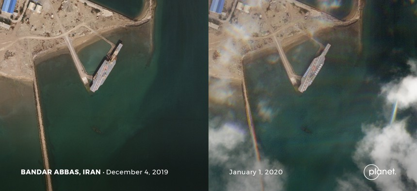 The view from Planet Labs SkySat satellites showing Iran's fake aircraft and a recent push to complete repairs, in possible anticipation of a March exercise. Photos taken December 4.19 and Jan 1.20.