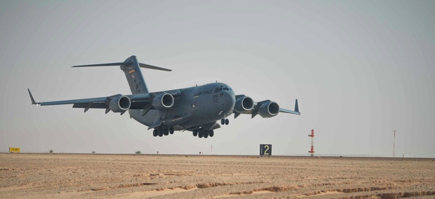 The first C-17 Globemaster III arirrves at Prince Sultan Air Base during the initial bed down of Airmen, Kingdom of Saudi Arabia, June 24, 2019.