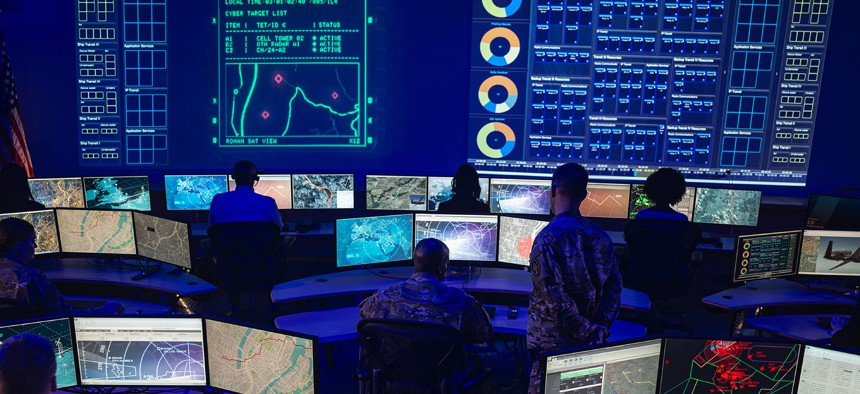 Northrop Grumman demonstrates its Distributed Autonomy/Responsive Control, or DA/RC, a prototype battle management and command-and-control system.