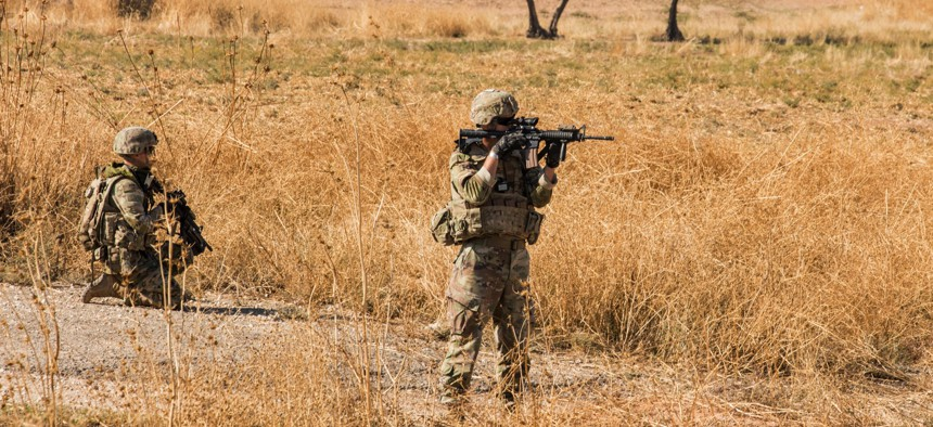 U.S. Army National Guard soldiers work with Syrian Democratic Forces to defeat ISIS remnants and protect critical infrastructure in eastern Syria on Nov. 10, 2019.