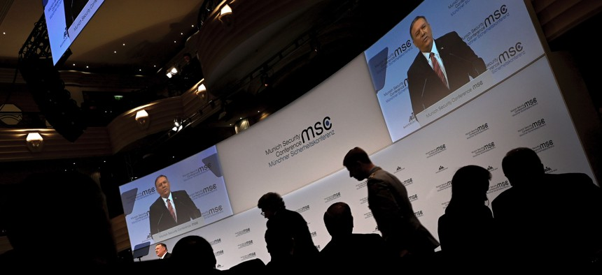 Secretary of State Mike Pompeo speaks on the podium during the 56th Munich Security Conference (MSC) in Munich, southern Germany Saturday, Feb. 15, 2020.