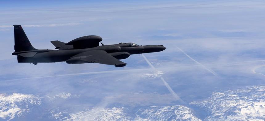 A U-2 Dragon Lady flies above the Sierra Nevada Mountain Range, California, Mar. 23, 2016.