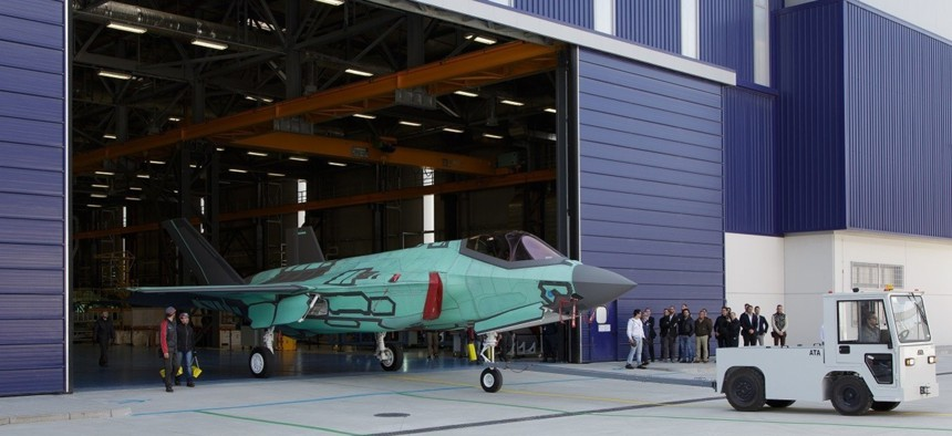 The first F-35A rolls out of the Cameri, Italy, Final Assembly & Check Out (FACO) facility on March 12, 2015.