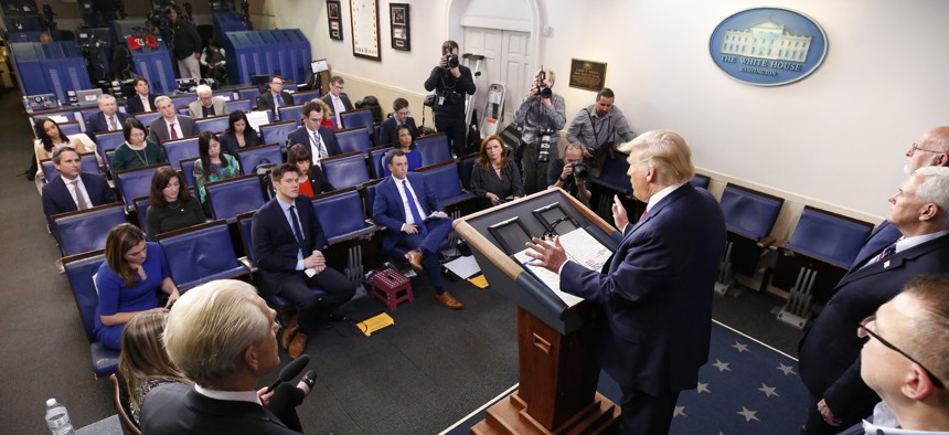 President Donald Trump speaks during a coronavirus task force briefing at the White House, Sunday, March 22, 2020, in Washington.