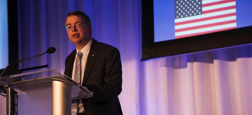 Deputy Defense Secretary David L. Norquist speaks at the NATO-Industry Forum in Washington, D.C., Nov. 14, 2019.