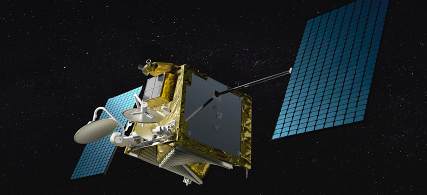 An artist's illustration of the OneWeb communications satellite