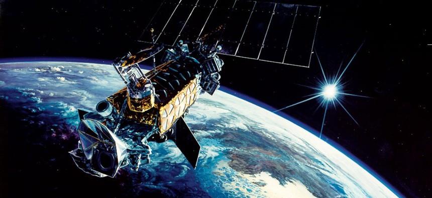 An illustration of a US military satellite, DMSP Block-5D2.