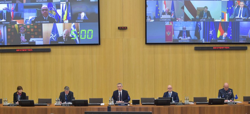 Because of the coronavirus pandemic, for the first time NATO foreign ministers met by video conference and practiced social distancing for their meeting, Apr. 2, 2020.