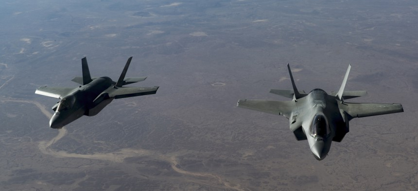 Two U.S. Air Force F-35 Lightning II aircraft, assigned to the 34th Expeditionary Fighter Squadron, fly in formation over the U.S. Central Command area of responsibility, Jan. 07, 2020.