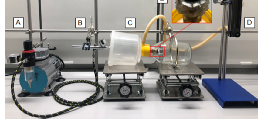 An apparatus to test different materials for COVID-19 protection by Army research engineers.