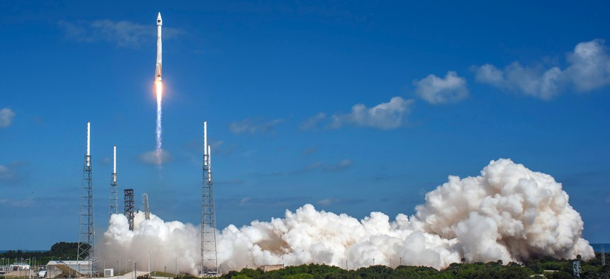 A United Launch Alliance (ULA) Atlas V rocket carrying the GPS IIF-11 mission lifted off from Space Launch Complex 41 at 12:13 p.m. EDT