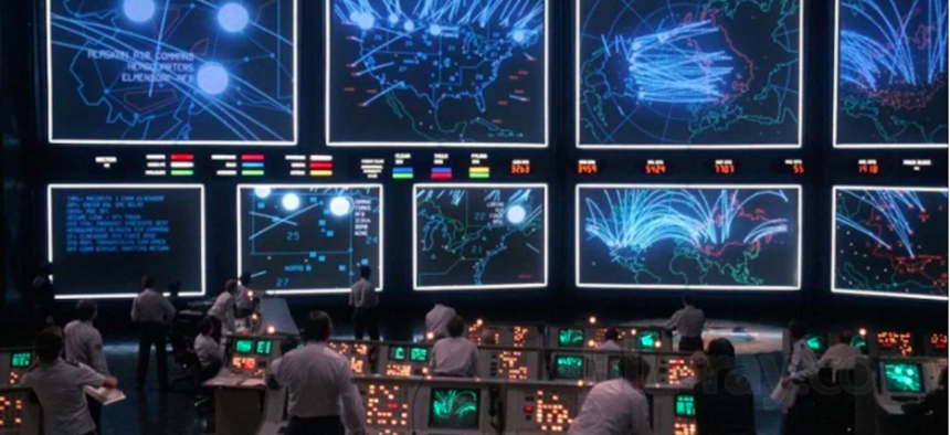 A shot from the 1983 movie WarGames.