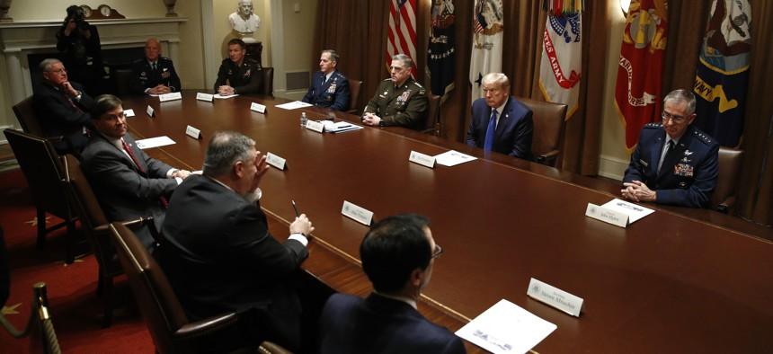 President Donald Trump meets with senior military leaders and members of his national security team in the Cabinet Room of the White House, Saturday, May 9, 2020