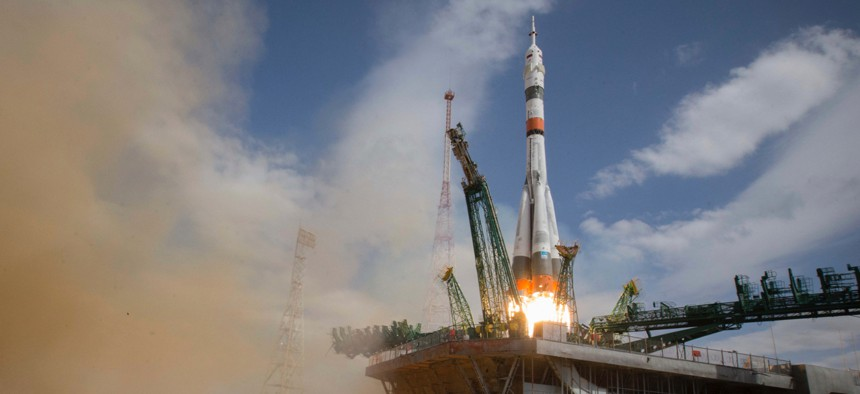 A Soyuz rocket carrying a new crew to the International Space Station blasts off in Kazakhstan on April 9, 2020..