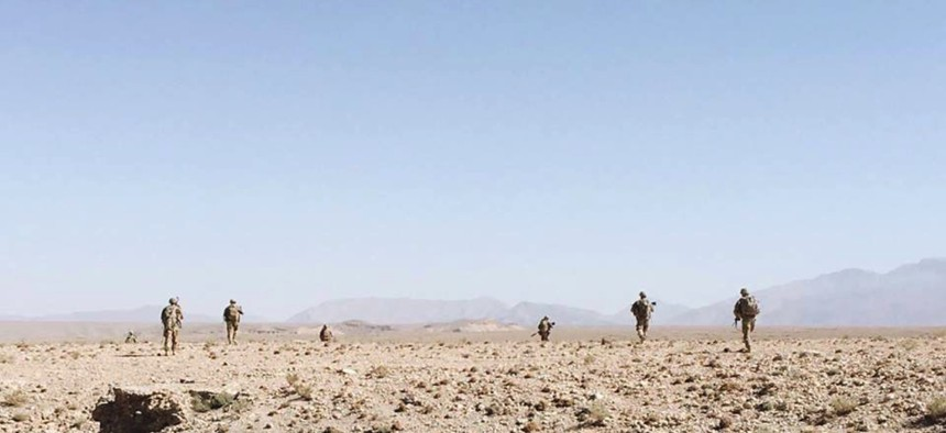 Raider Brigade Soldiers with 2nd Squadron, 1st Cavalry Regiment, 1st Stryker Brigade Combat Team, 4th Infantry Division conduct a foot patrol in support of Operation Resolute Support and Operation Freedom's Sentinel in 2018.